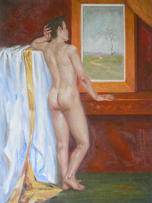 David Bowie - Original Oil Painting Male Nude Man Body Art Young Boy On Canvas#16-2-6-09 by Hongtao Huang