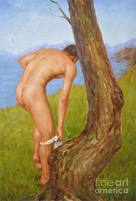 Original Oil Painting Man Body Art Male Nude-029 Art Print