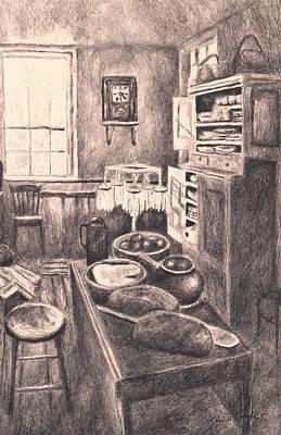 Original Old Fashioned Kitchen Art Print by Kendall Kessler