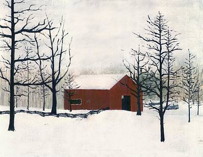 Art Print featuring the painting Original Painting Red Barn Snow Maryland by G Linsenmayer