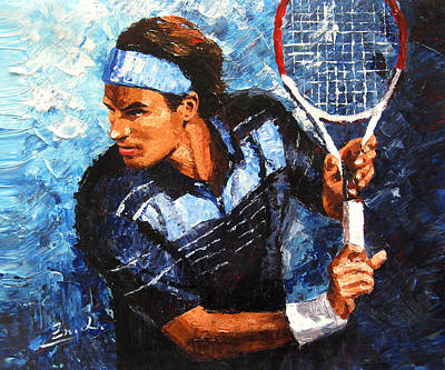 original palette knife painting Roger Federer Original by Enxu Zhou