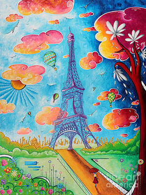 Original Paris Eiffel Tower Pop Art Style Painting Fun And Chic By Megan Duncanson Art Print