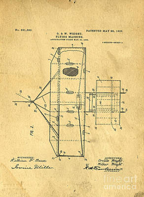 Fly Drawing - Original Patent For Wright Flying Machine 1906 by Edward Fielding
