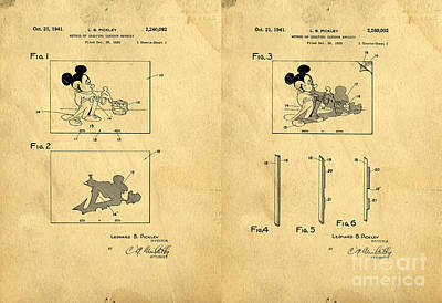 Disney Drawing - Original Patent For Method Of Creating Cartoon Effects by Edward Fielding