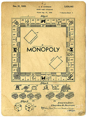 Toy Drawing - Original Patent For Monopoly Board Game by Edward Fielding