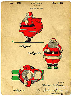 Digital Art - Original Patent For Santa On Skis Figure by Edward Fielding