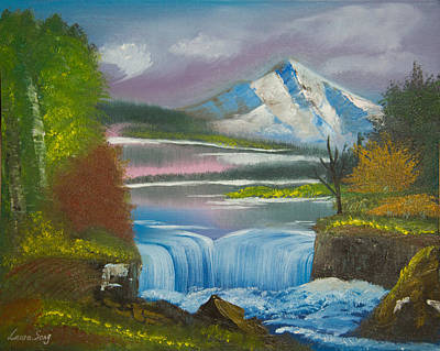 Original Peaceful Landscape Oil Painting---snow Mountain With Waterfall Of Autumn Gloaming Art Print by Laura SONG