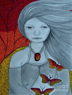 Original Pencil Drawing Art The Wind Of The Spirit 2 By Saribelle Rodriguez Art Print