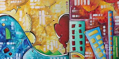 Original Pop Art Style Landscape Cityscape Painting By Megan Duncanson Art Print by Megan Duncanson