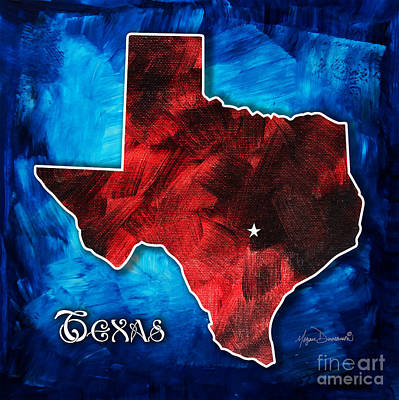 Original Rich Colorful Red White And Blue Texas Map Outline By Megan Duncanson Art Print by Megan Duncanson