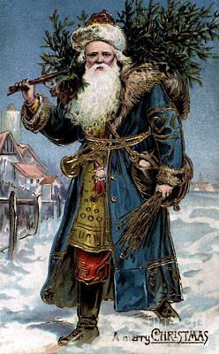 Mixed Media - Original Santa Claus Pre Cola Red Redesign by R Muirhead Art