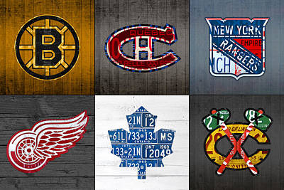 Maple Leaf Art Mixed Media - Original Six Hockey Team Retro Logo Vintage Recycled License Plate Art by Design Turnpike