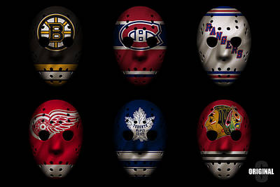 Goalie Photograph - Original Six Jersey Mask by Joe Hamilton