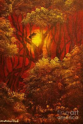 Norwegian Sunset Painting - Fairytale Forest- Original Sold - Buy Giclee Print Nr 27 Of Limited Edition Of 40 Prints  by Eddie Michael Beck