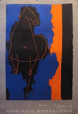 Original Swiss Exhibition Poster - Marino Marini Kunsthaus Zurich Original