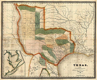 Vintage Map Photograph - Original Texas Landowners 1835 by Andrew Fare