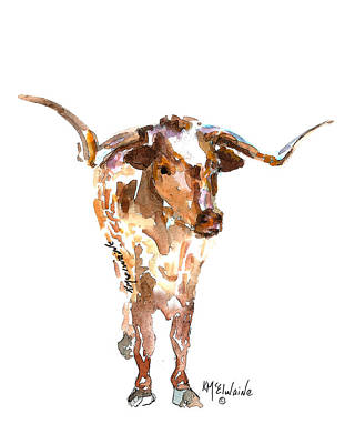 Kathleen Painting - Original Longhorn Standing Earth Quack Watercolor Painting By Kmcelwaine by Kathleen McElwaine