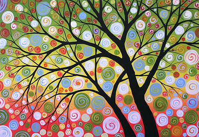 Nature Abstract Painting - Original Tree Art Painting ... Summer Solstice by Amy Giacomelli