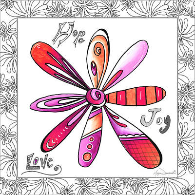 Peaches Drawing - Original Uplifting Inspirational Flower Quote Typography Art By Megan Duncanson by Megan Duncanson