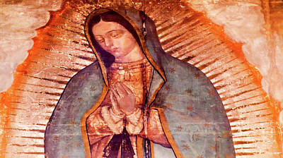 Virgin Guadalupe Wall Art - Photograph - Original Virgin Mary Guadalupe Painting by William Perry