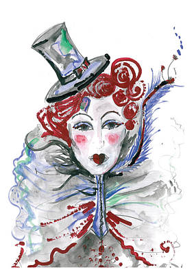Burlesque Mixed Media - Original Watercolor Fashion Illustration by Marian Voicu