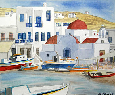 Art Print featuring the painting Watercolor - Mykonos Greece Detail by Cascade Colors