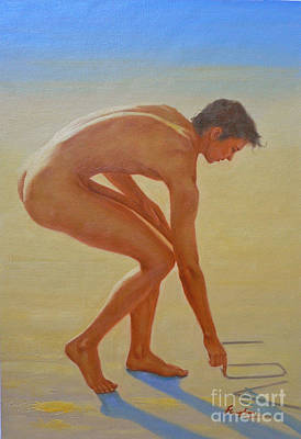 Original  Young Man Body Oil Painting  Gay Art - Male Nude By The Sea-055 Art Print