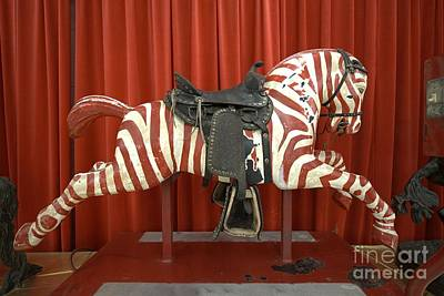 Original Zebra Carousel Ride Art Print by L Wright