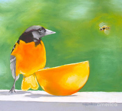Oriole Drawing - Oriole And The Orange by Faythe Mills