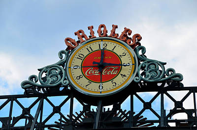 Oriole Digital Art - Orioles Clock - Camden Yards by Bill Cannon