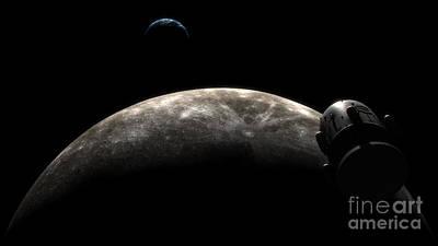 Digital Art - Orion-drive Spacecraft In Lunar Orbit by Rhys Taylor