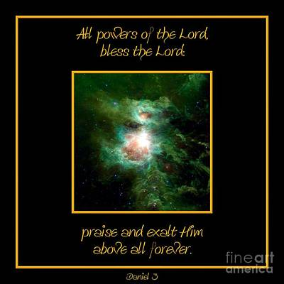 Photograph - Orion Nebula All Powers Of The Lord  Bless The Lord Praise And Exalt Him Above All Forever  by Rose Santuci-Sofranko