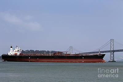 Jason O. Watson Photograph - Orion Voyager Oil Tanker Passing Through Bay Bridge by Jason O Watson