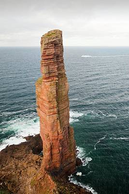Red Sandstone Photograph - Orkney Ferry Passing The Old Man Of Hoy by Ashley Cooper