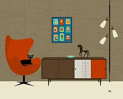 Eames Digital Art - Orla Kiely Cabinet by Donna Mibus