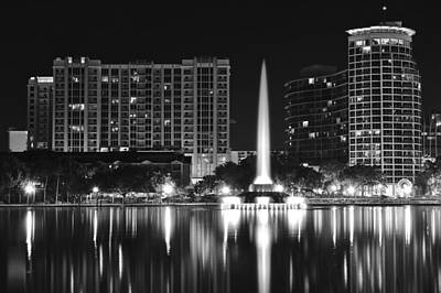 Photograph - Orlando Black And White Night by Frozen in Time Fine Art Photography