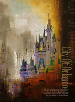 City Scenes Paintings - Orlando City Collage  by Corporate Art Task Force
