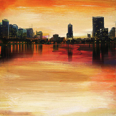 Florida Bridge Painting - Orlando City Skyline  by Corporate Art Task Force