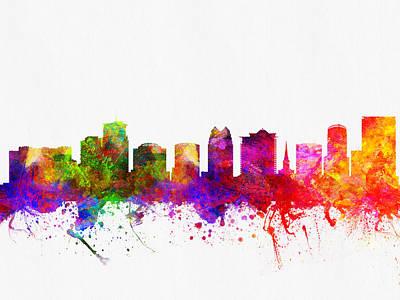 Florida Digital Art - Orlando Florida Skyline by Aged Pixel