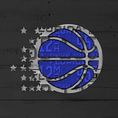Orlando Magic Basketball Team Logo Vintage Recycled Florida License Plate Art Art Print
