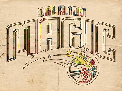 Painting - Orlando Magic Retro Poster by Florian Rodarte