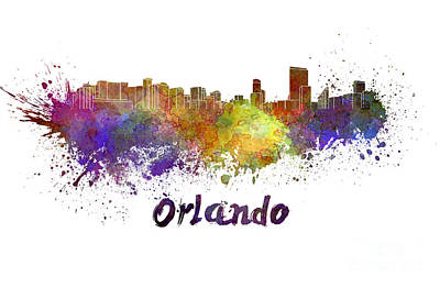 Orlando Painting - Orlando Skyline In Watercolor by Pablo Romero