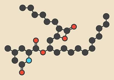 Orlistat Obesity Drug Molecule Art Print by Molekuul