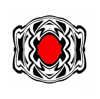 Concentration Digital Art - Ornament Black White Red Geometric Art No.119. by Drinka Mercep