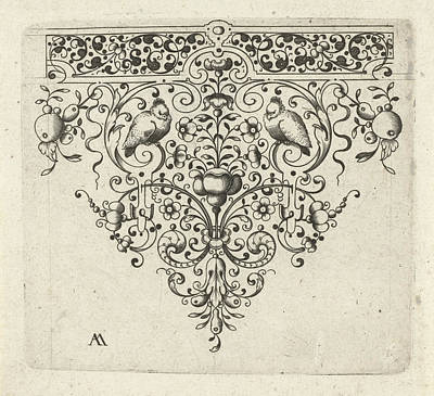 Tendrils Drawing - Ornament Featuring Flowers And Two Birds by Laurent Jansz Micker And Anonymous