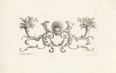 Ornament With A Mascaron Surrounded By Foliate Scrolls Two Art Print by Bernard Picart