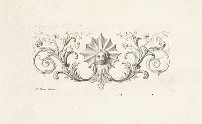 Ornament With A Mascaron Surrounded By Leafs Art Print by Bernard Picart
