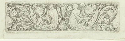 Ornament With Two Tritons And Two Skulls Art Print by Litz Collection