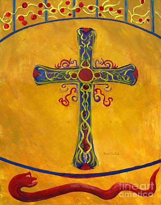 Ornamental Cross And Snake  Art Print