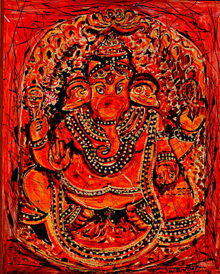 Painting - Ornamental Ganesha-7 by Anand Swaroop Manchiraju